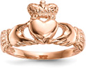 14K Rose Gold Claddagh Ring for Women
