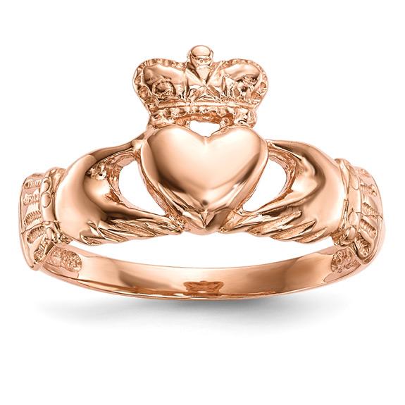 14K Rose Gold Claddagh Ring for Women