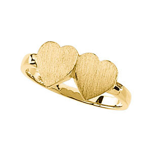 Double-Heart Engraveable Gold Signet Ring