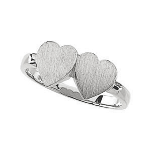 Double Love Heart Signet Ring in Sterling Silver