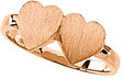 Two-Hearts Rose Gold Signet Ring