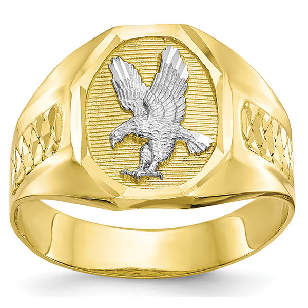 10K Gold and Rhodium American Eagle Ring