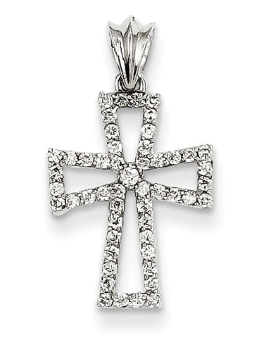 1/4 Carat Diamond Cross Necklace, 14K White Gold