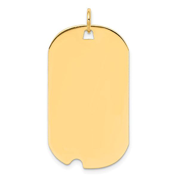 Engravable Military Dog Tag Necklaces 14K Gold