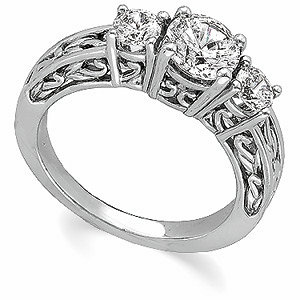 Three-Stone 1/2 Carat Paisley Diamond Engagement Ring, 14K White Gold