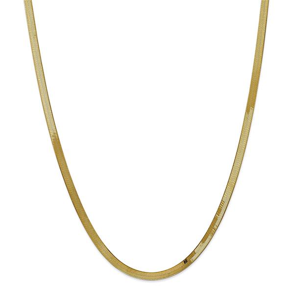 14K Gold Herringbone Necklace, 4mm