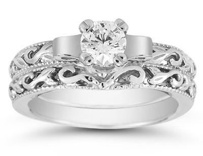 1/3 Carat Art Deco Diamond Bridal Ring Set in 14K White Gold
