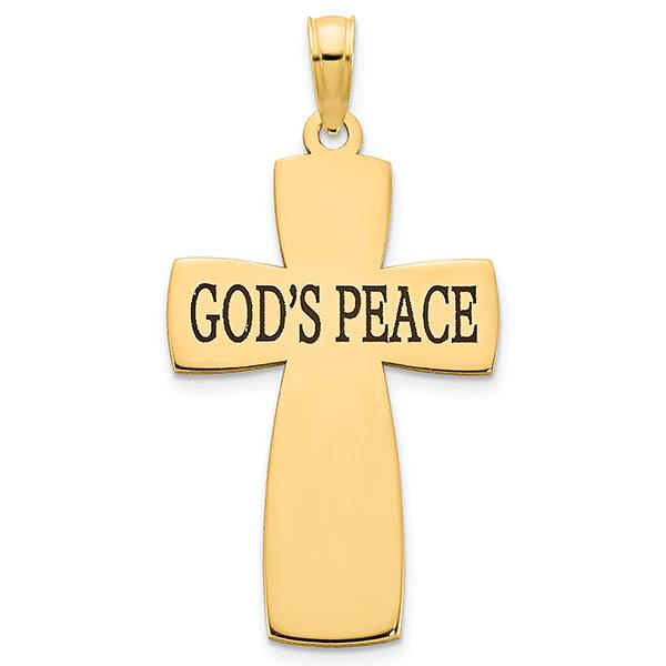 God's Peace Cross Pendant in 14K Gold