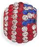 American Flag Crystal Bead in Sterling Silver
