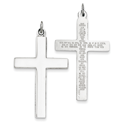 Sterling Silver Cross Pendant with Lord's Prayer