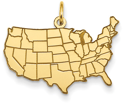United States Map Pendant in 14K Gold