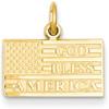 God Bless America Flag Pendant in 14K Gold