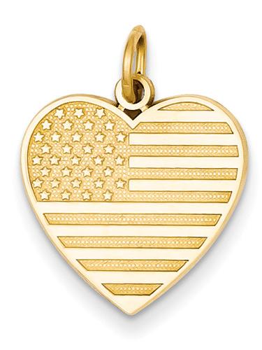 American Flag Heart Pendant, 14K Gold
