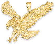 Large Sweeping Eagle Pendant in 14K Gold
