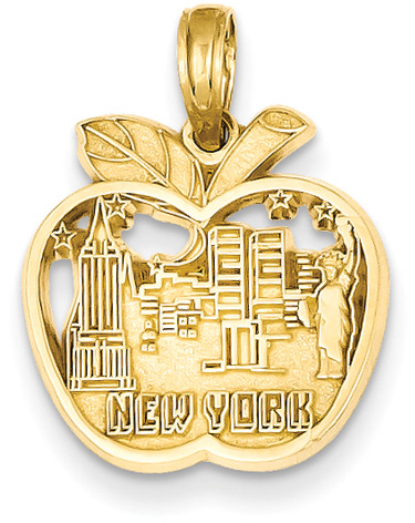 The Big Apple New York Pendant, 14K Gold