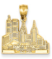 New York Skyline Jewelry Pendant in 14K Gold