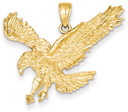 Sweeping Eagle Pendant in 14K Gold