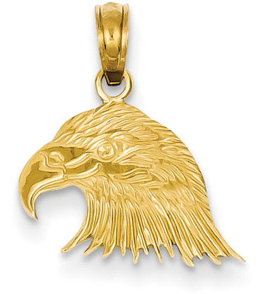 Small Eagle Head Pendant in 14K Gold