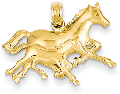 Horse and Foal Pendant in 14K Gold