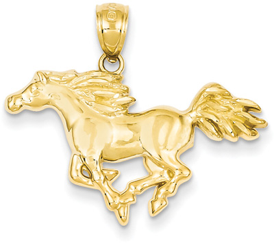 Galloping Horse Pendant in 14K Gold