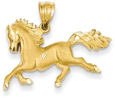 14K Gold Galloping Horse Pendant