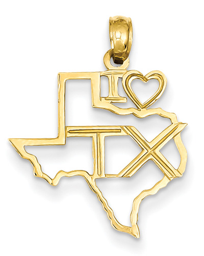 I Love Texas Pendant in 14K Gold