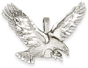 14K White Gold Sweeping Eagle Pendant