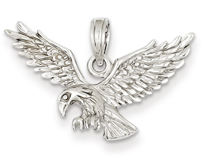 14K White Gold Eagle Pendant