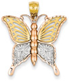 14K Tri-Color Gold Butterfly Pendant