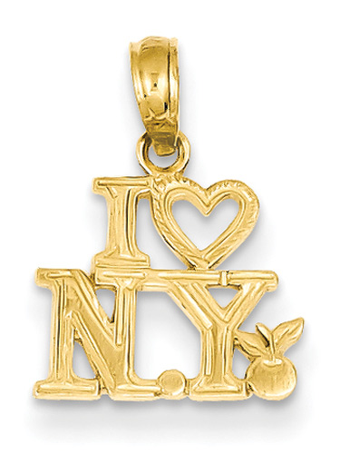 I Love New York Jewelry Pendant in 14K Gold