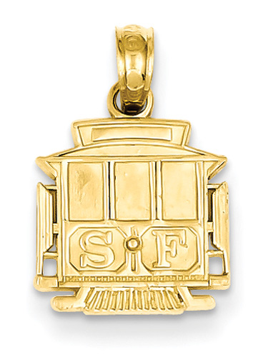 San Francisco Cable Car Jewelry Pendant in 14K Gold