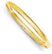 14K Gold Hammered Hinged Bracelet (3/16