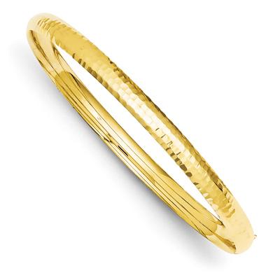 14K Gold Hammered Hinged Bracelet (3/16