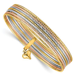 14K Tri-Color Gold 7 Slip-On Bangles with Heart Charm