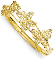 Butterfly Bangle Bracelet in 14K Yellow Gold