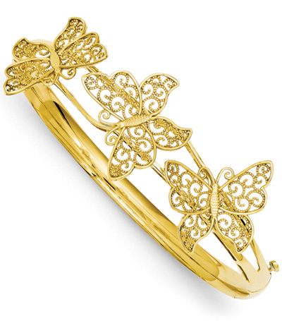 Butterfly Bangle Bracelet in 14K Yellow Gold