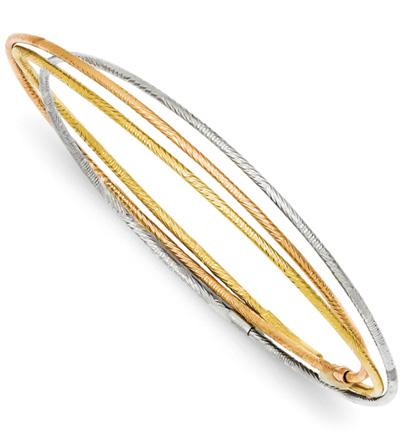 Set of 3 Tri-Color Gold Intertwining Bangle Bracelets
