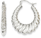 14K White Gold Scalloped Hoop Earrings