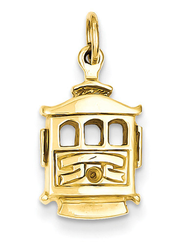 Cable Car Pendant in 14K Gold