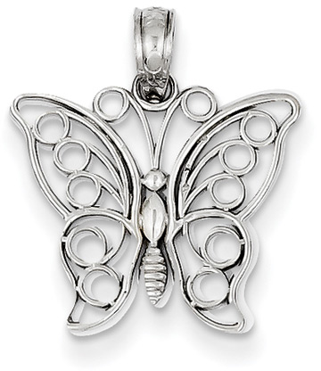14K White Gold Butterfly Pendant