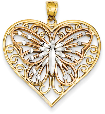 Heart Pendant with Butterfly Design Inside in 14K Gold