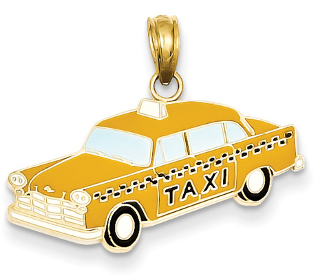 Yellowed Checkered Taxi Cab Pendant in 14K Gold