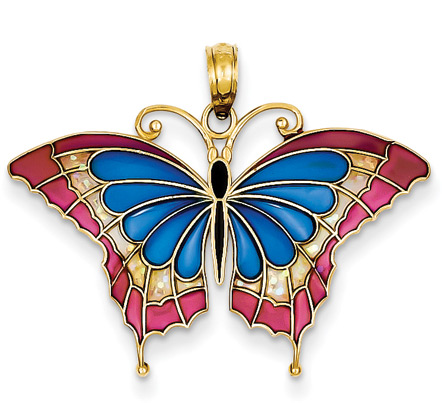 Red and Blue Wings Butterfly Pendant in 14K Gold