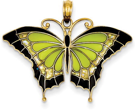 Green and Black Wings Butterfly Pendant in 14K Gold