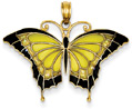 Black and Yellow Butterfly Wings Pendant in 14K Gold