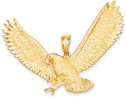 Large Eagle Pendant in 14K Gold