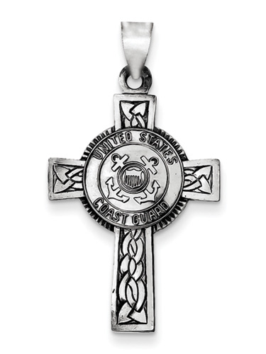 United States Coast Guard Cross Pendant in Sterling Silver