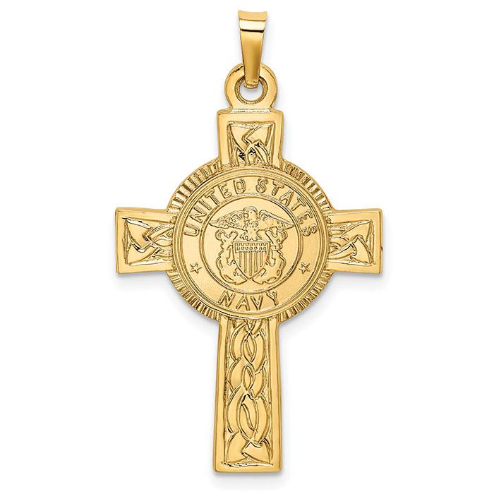 US Navy Cross Pendant in 14K Gold