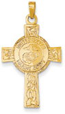US Marines Cross Pendant in 14K Gold