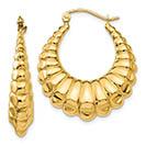 Polished Scalloped Hoop Design Earrings in 14K Gold